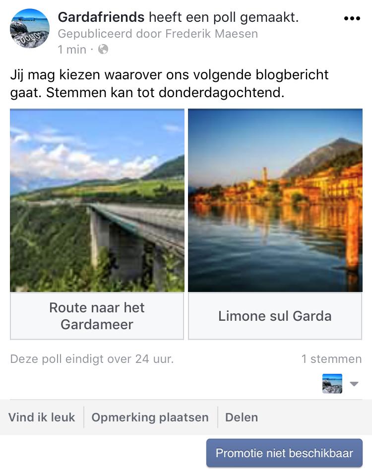 Stemmen op een Facebook poll met foto