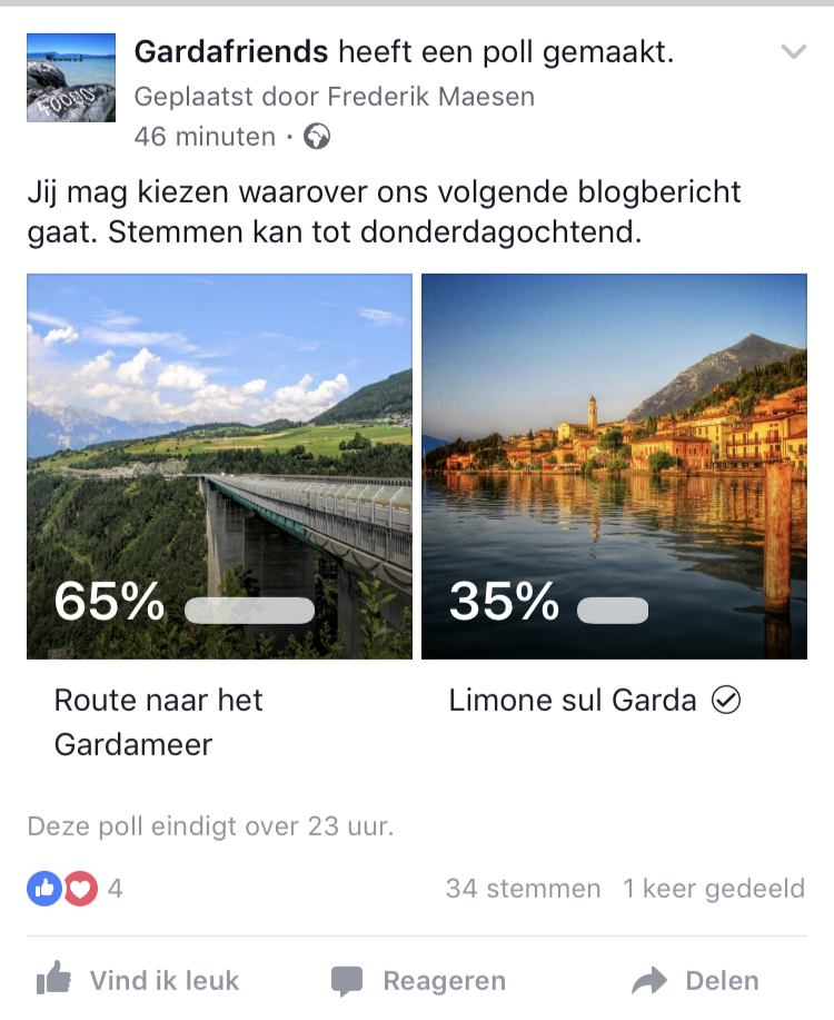 Resultaten van een Facebook poll met afbeelding
