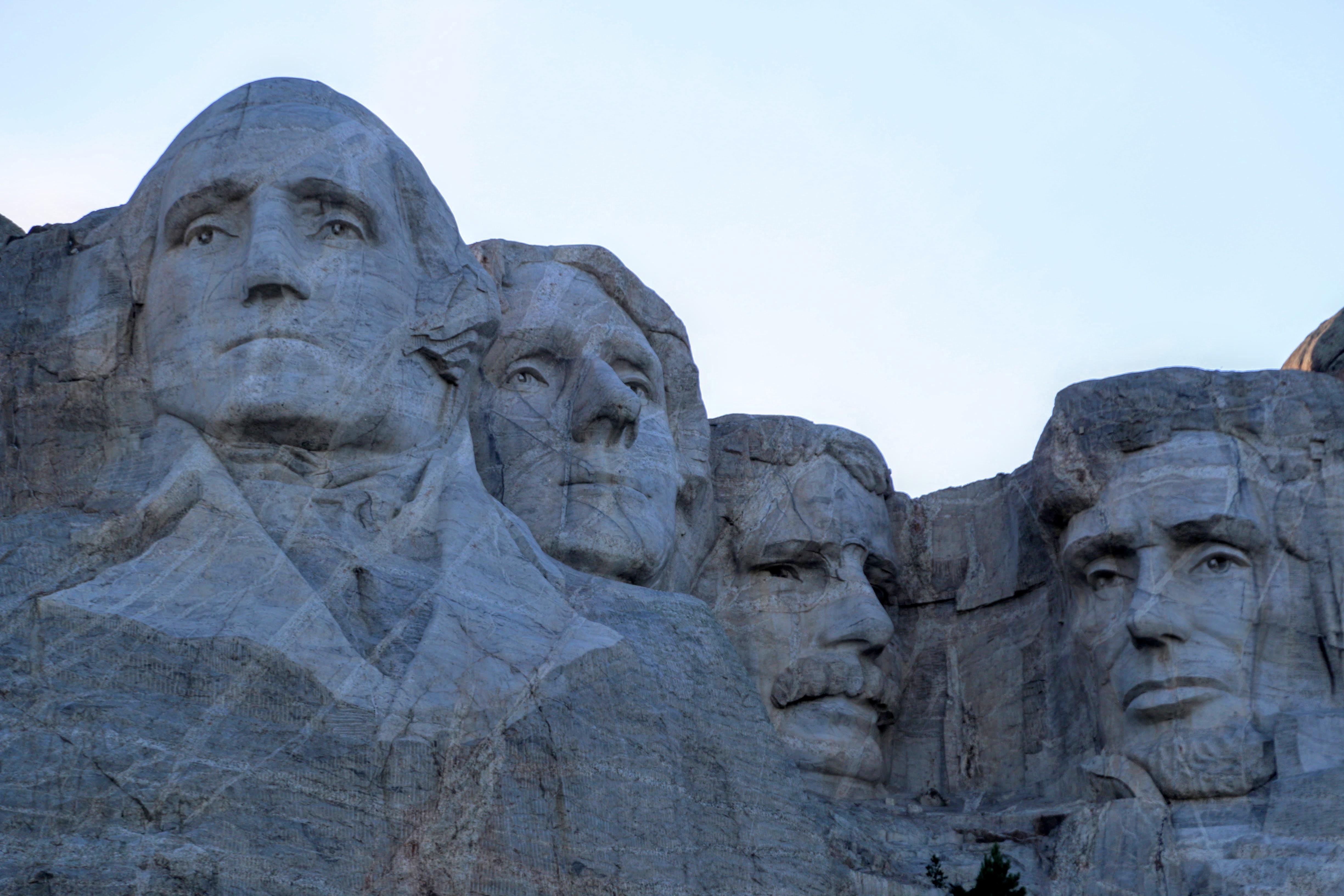 Hoofden van presidenten in berg Amerika
