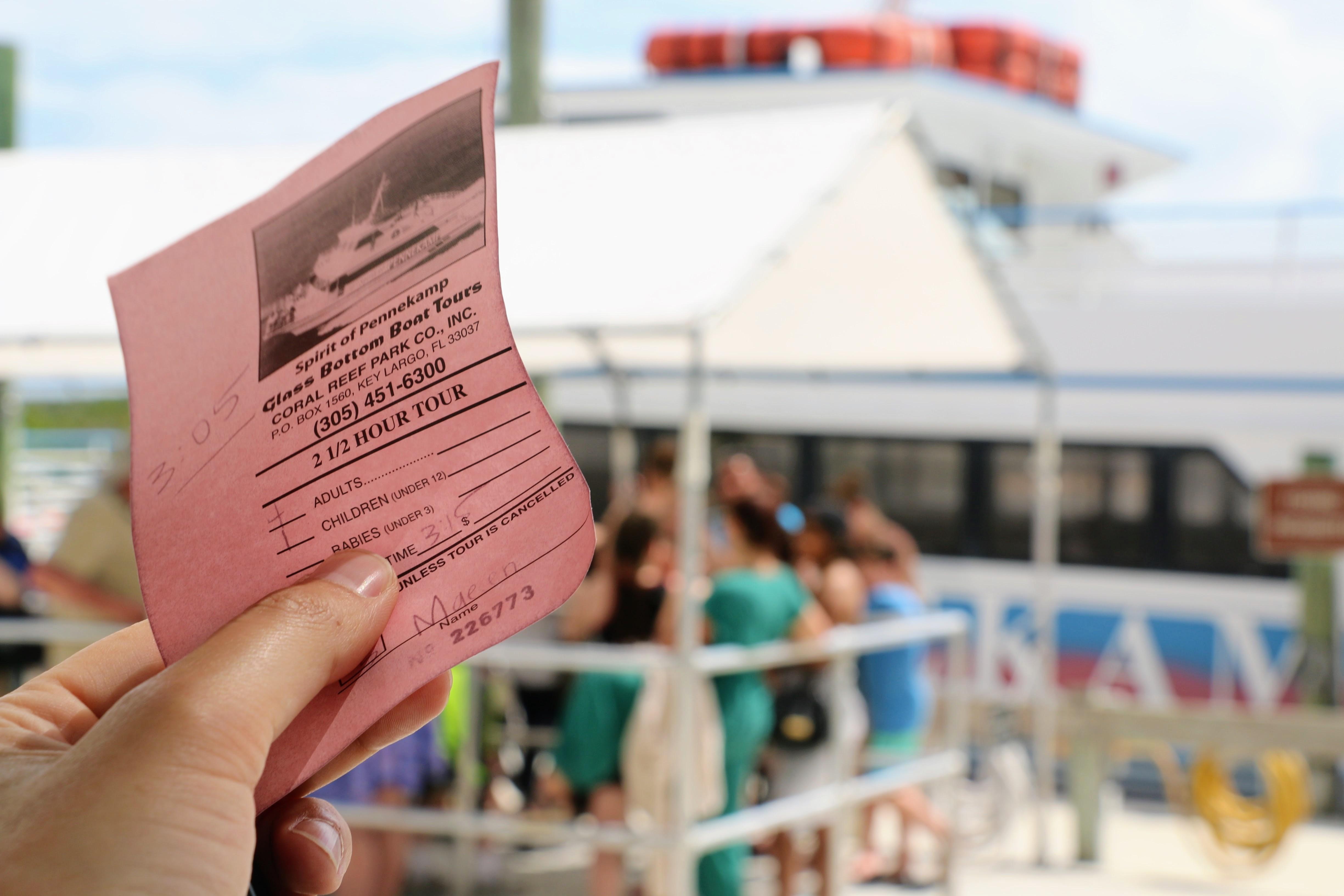 Boot met glazen boot koraal tickets