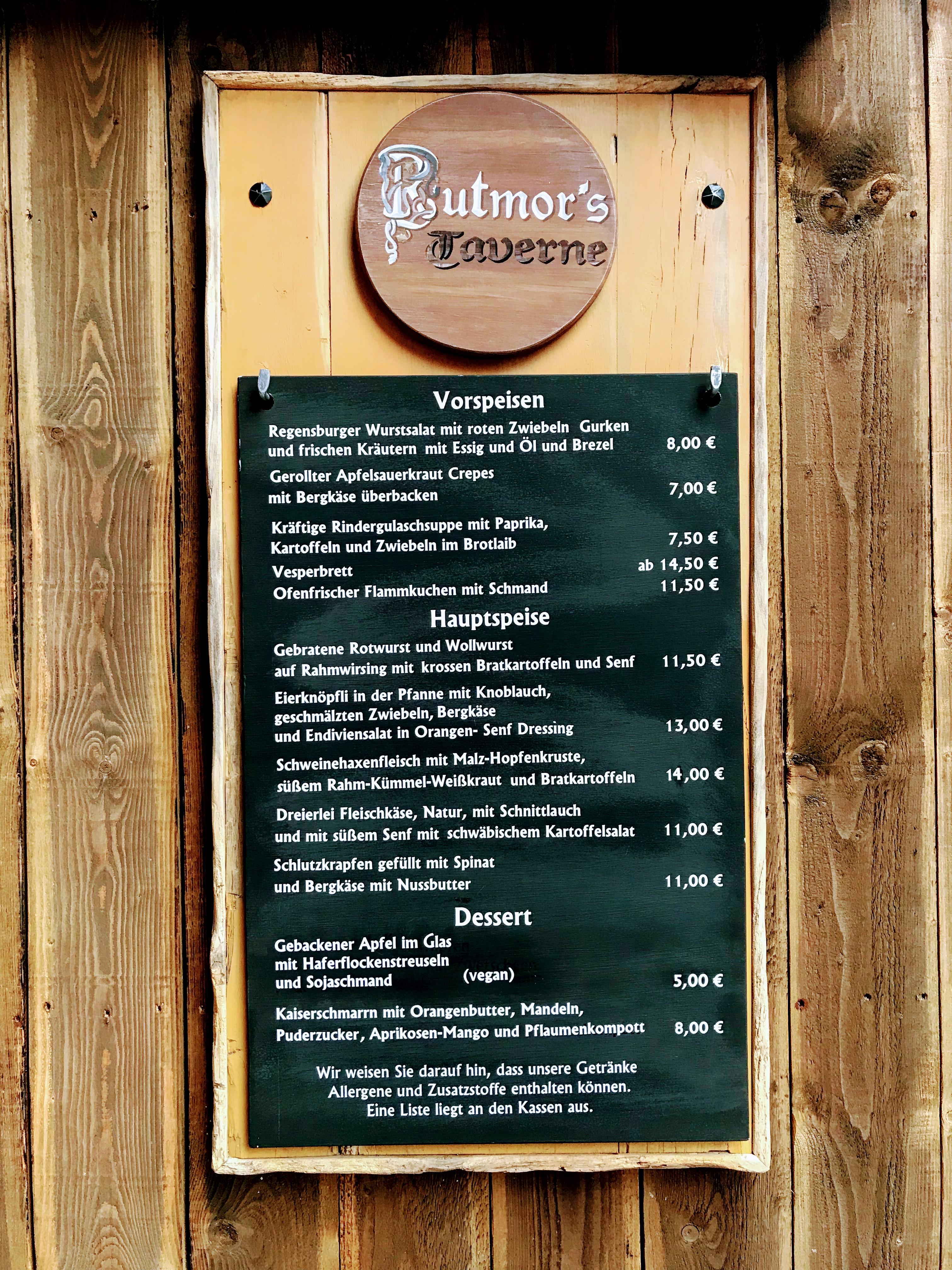 Menu Rutmor's Taverne