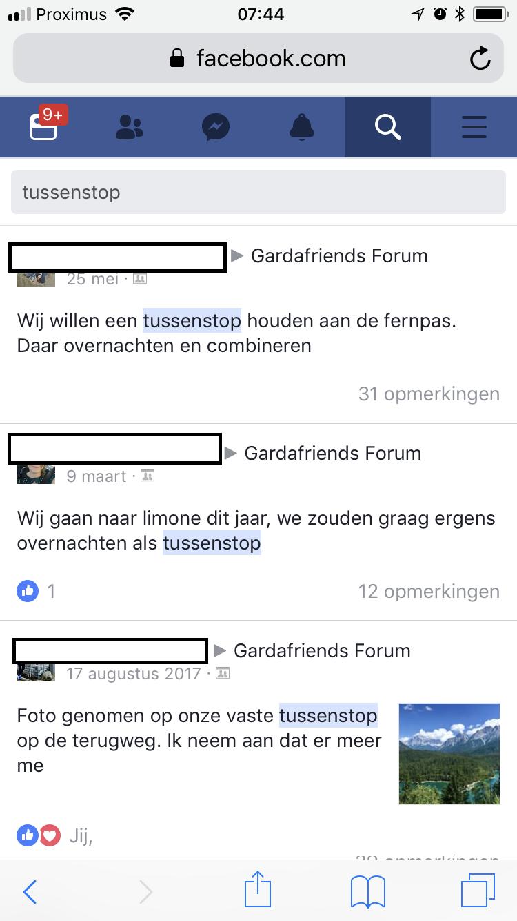Zoeken in een Facebook groep