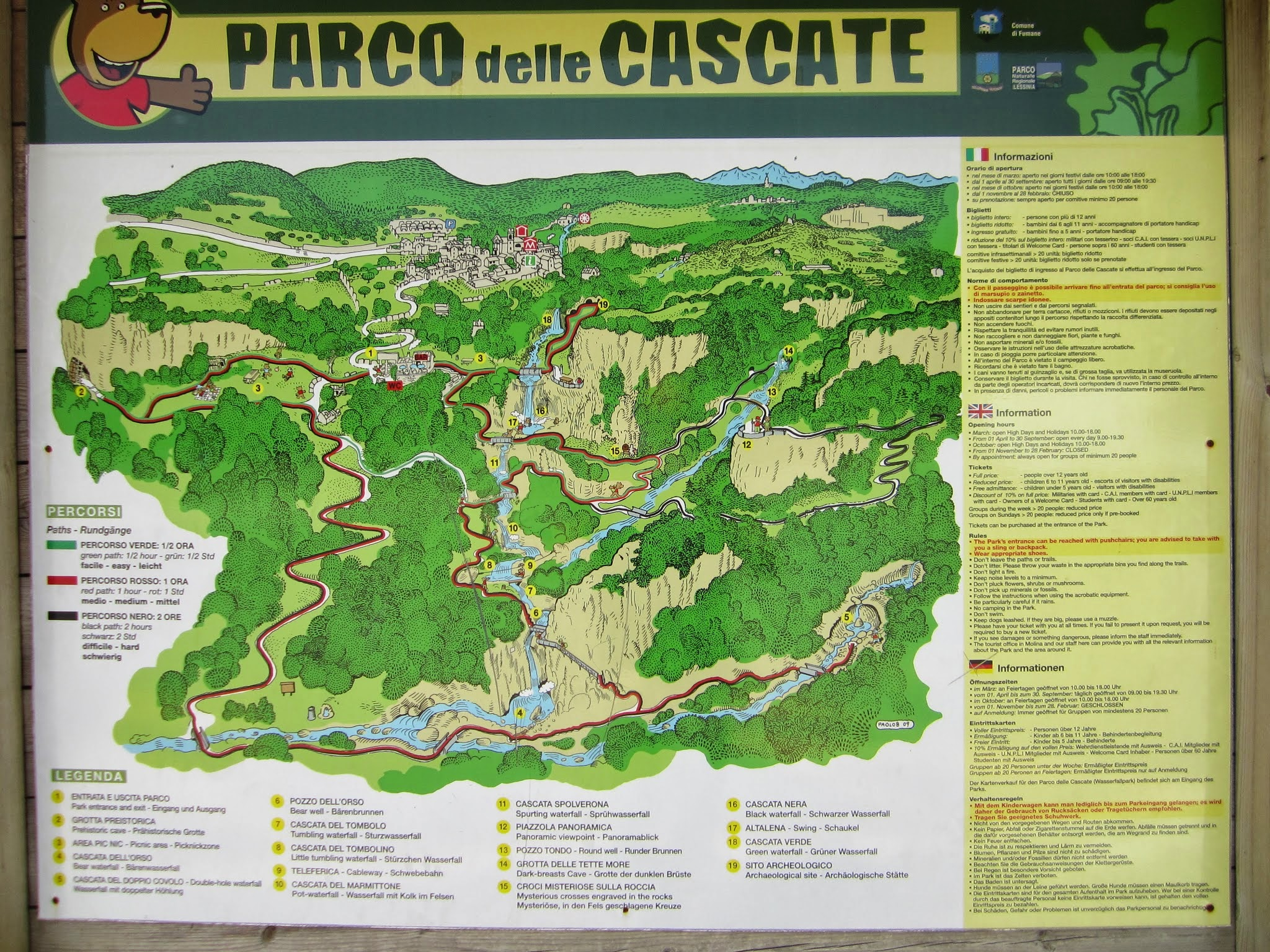 Wandelingen Parco delle cascate di Molina