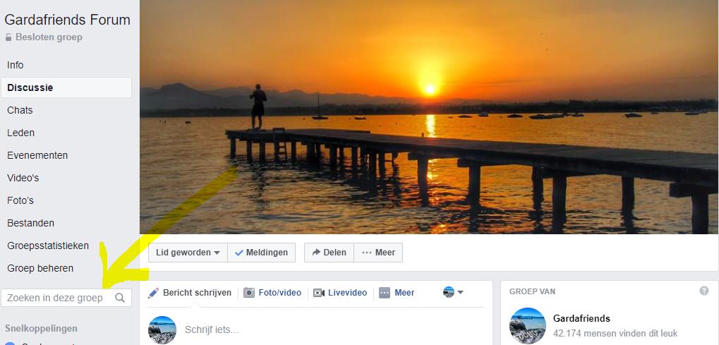 Zoeken in Facebook groep