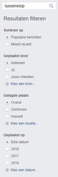 Zoekresultaten Facebook filteren