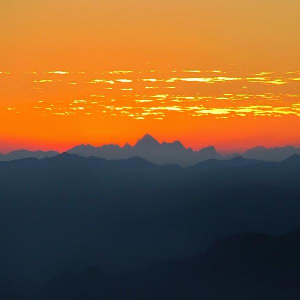 Zonsondergang vanaf de Monte Baldo