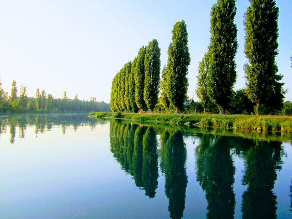 Fietsen langs de Mincio rivier
