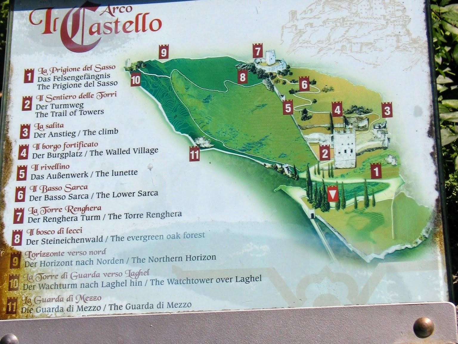 Plattegrond Castello di Arco aan het Gardameer