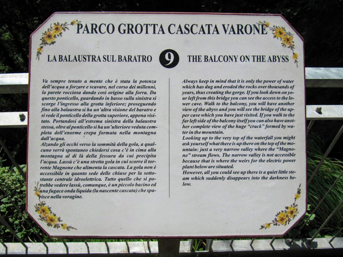 Infobord Grotte Cascata Varone