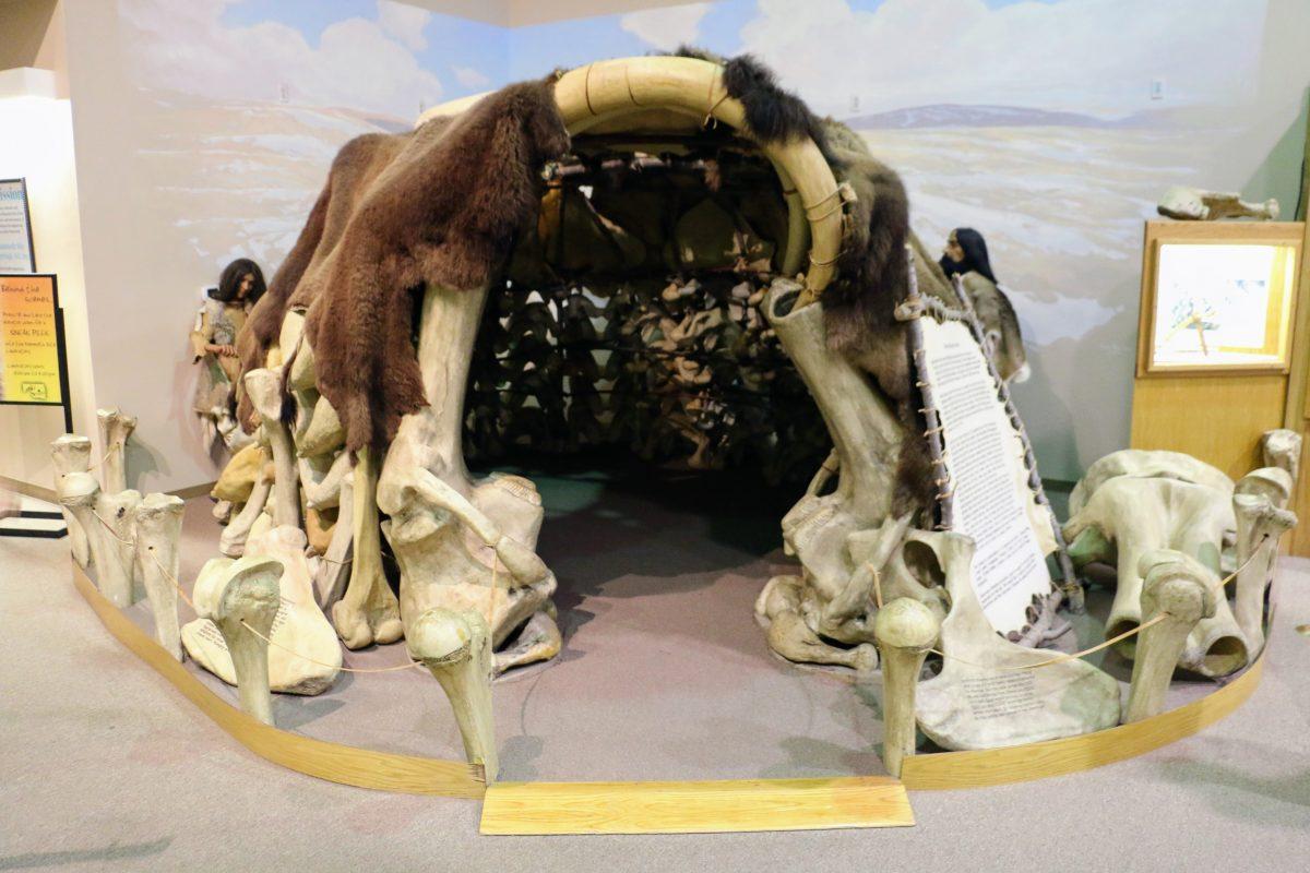 Tent met beenderen van mammoet prehistorie