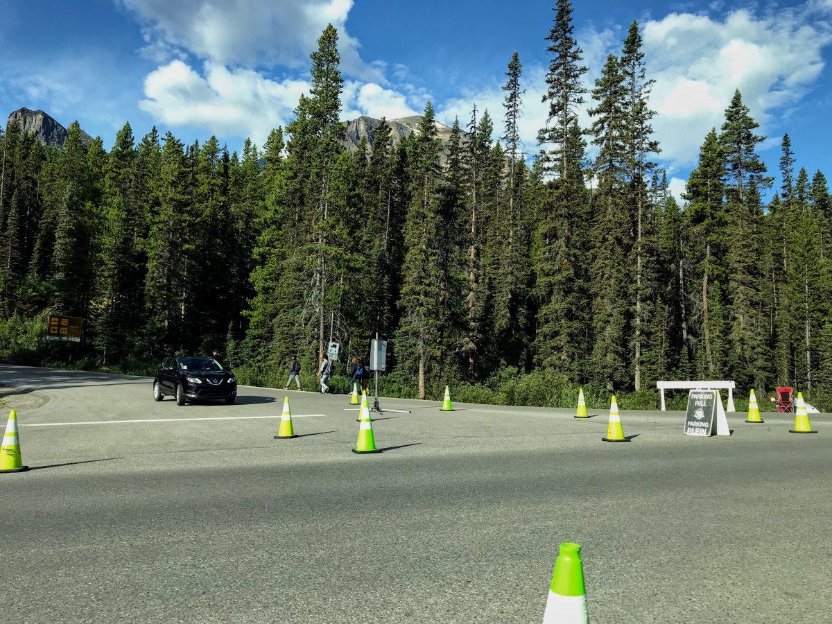 Waar parkeren Lake Moraine Alberta