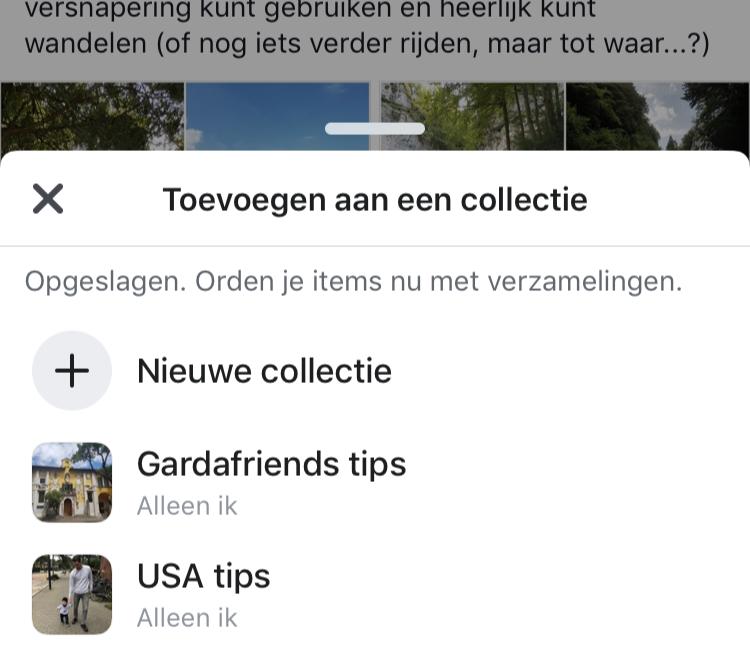 Facebook opgeslagen bericht toevoegen aan een collectie