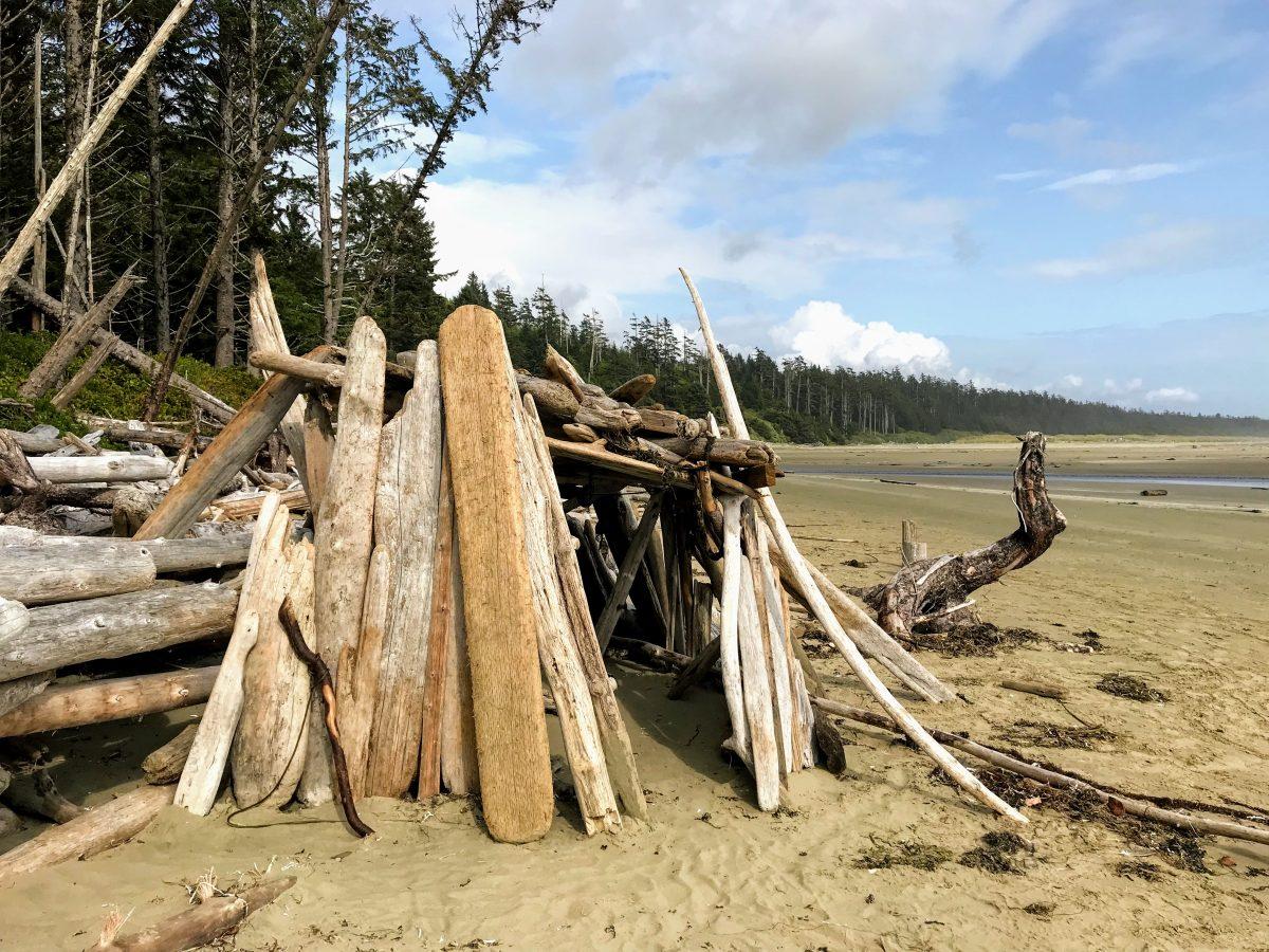 Een hut van drijfhout op het strand