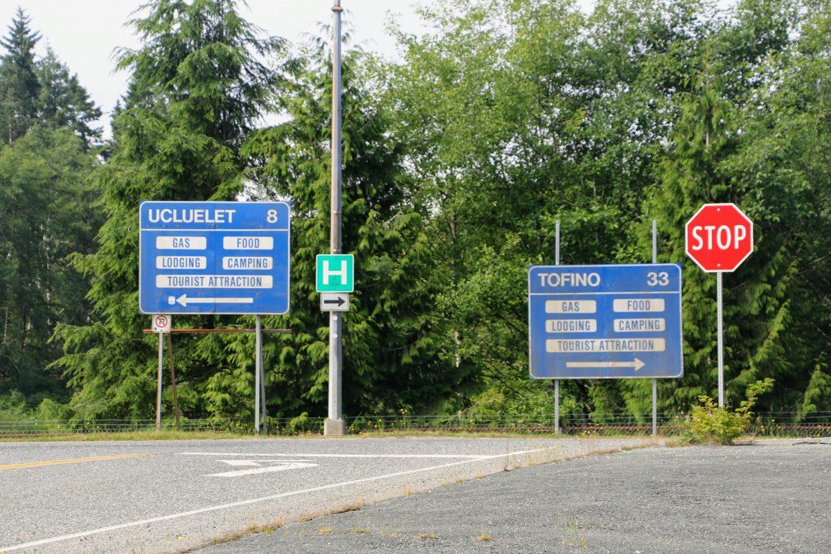 Splitsing Highway 4 - Tofino en Ucluelet