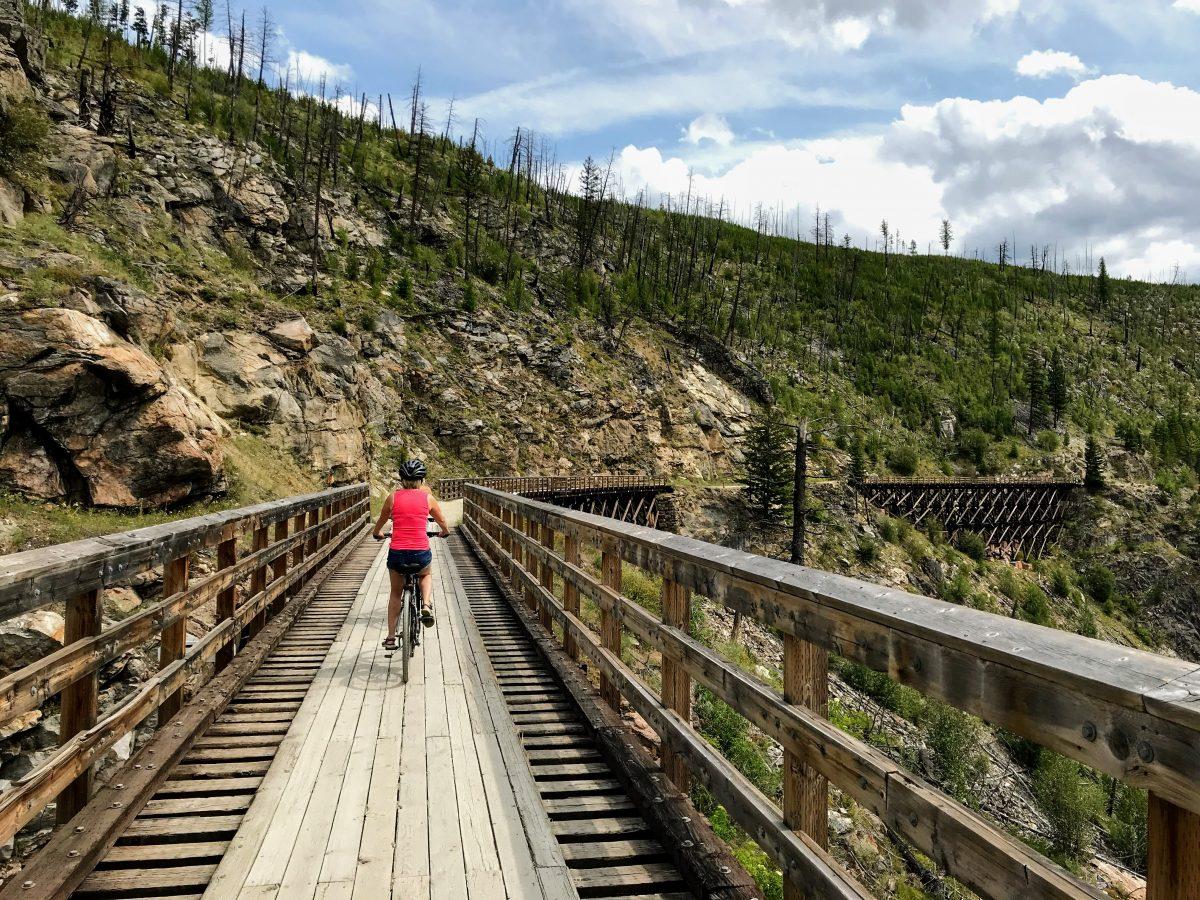 Fietsen in Canada - spoorwegbrug Myra Canyon