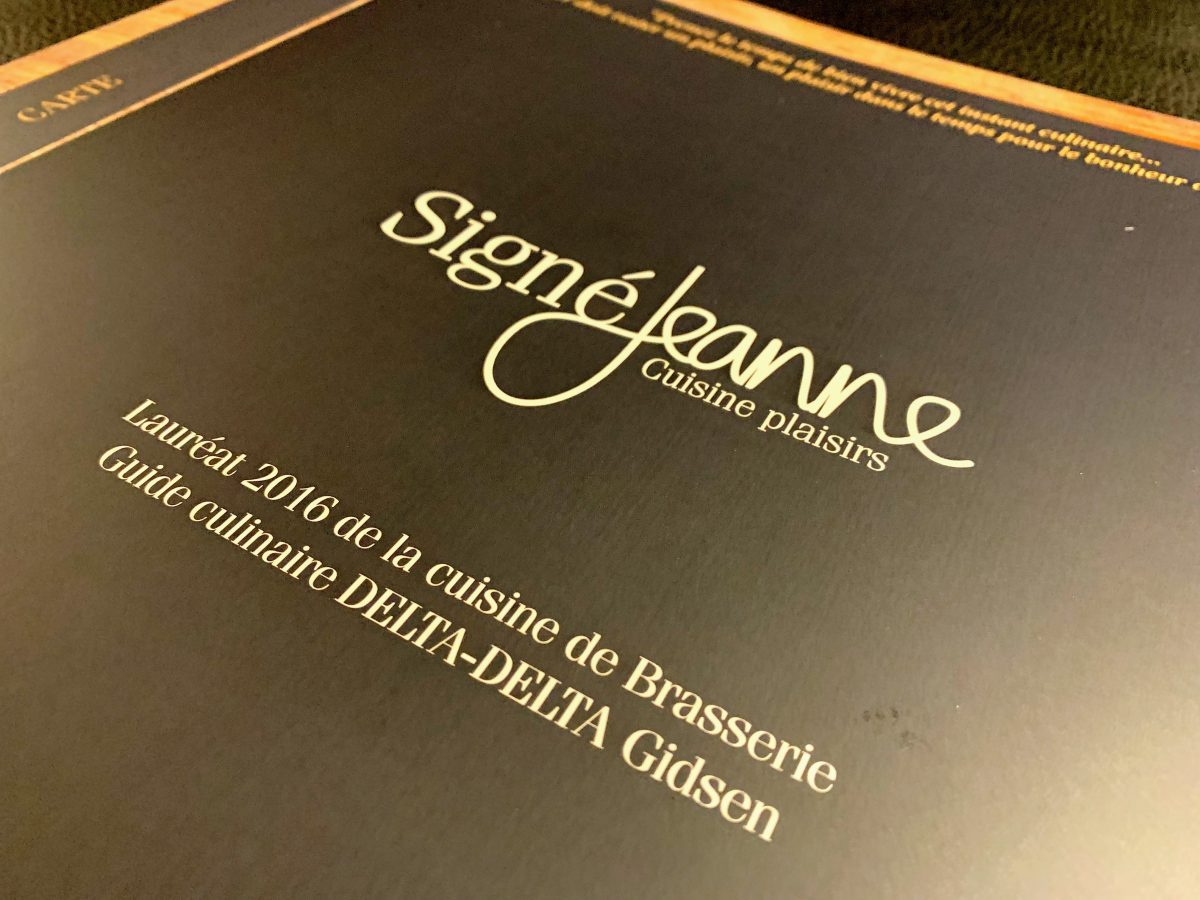 Signé Jeanne menukaart