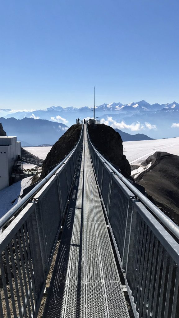 Zwitserland hangbrug bergtoppen