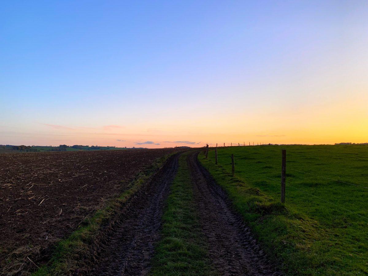 Wandelen bij zonsondergang in Remersdaal
