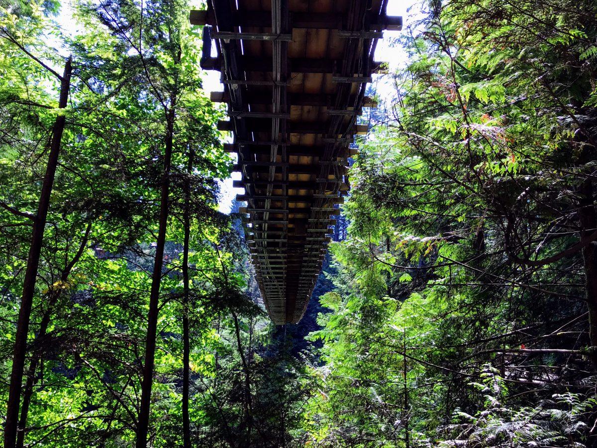 Onderzijde van de hangbrug in Vancouver