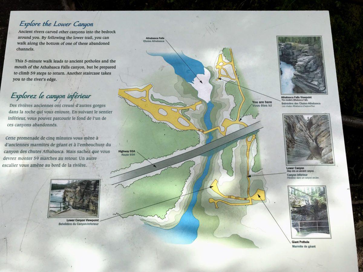 Athabasca Falls kaart