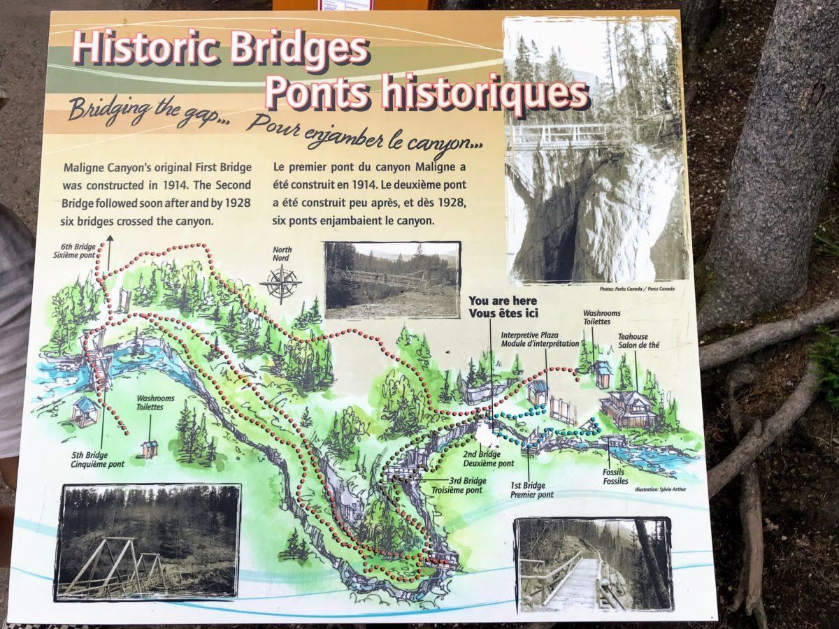 Historische bruggen Maligne Canyon